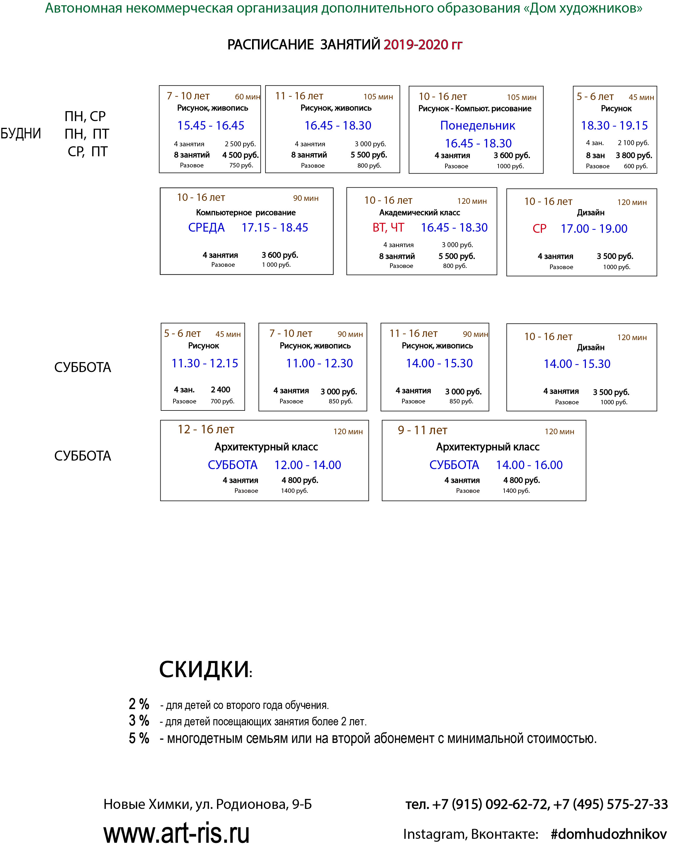 Расписание уроков по живописи, рисунку для детей Химки, Куркино